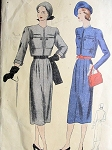 1940s BOLERO SUIT PATTERN SHORTIE JACKET,SLIM SKIRT VOGUE 6007