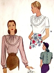 1940s FILM NOIR Style Blouse Pattern McCALL 6058 Bust 30 Vintage Sewing Pattern
