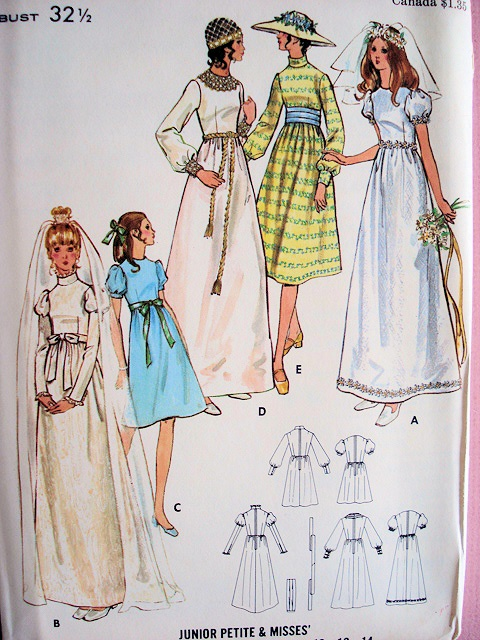 1960s Empire Style Wedding Dress Bridal Gown Pattern
