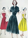 1950s FLATTERING Strapless Princess SunDress Or Evening Party Cocktail Dress Pattern BUTTERICK 6087 Smoothly Gored Skirt Pleated Bodice Wing Collar Crop Jacket Bust 32 Vintage Sewing Pattern