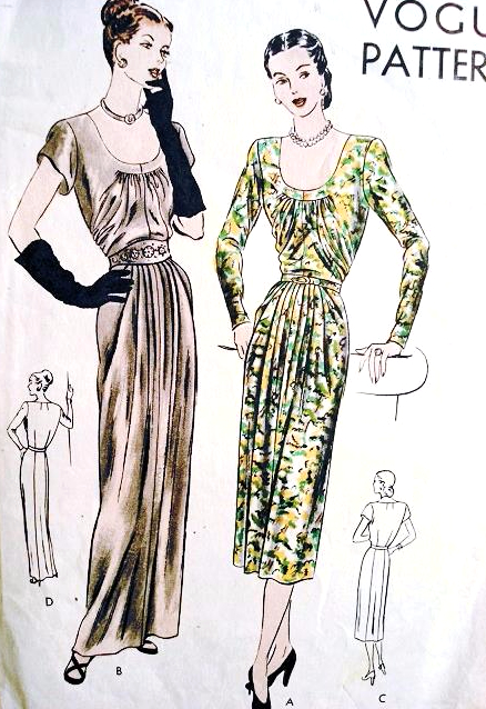 1940s Glamorous Evening Dinner Party Dress Pattern Vogue