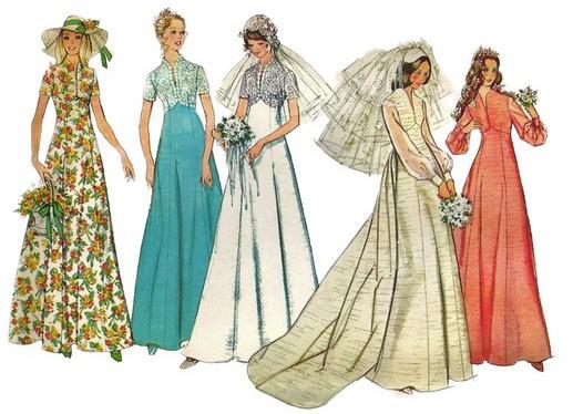1970s Empire Bridal Gown Wedding Dress Pattern Detachable