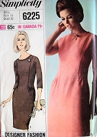 1960s ELEGANT Day or Cocktail Dinner Dress Pattern SIMPLICITY 6225 Bust 36 Vintage Sewing Pattern FACTORY FOLDED