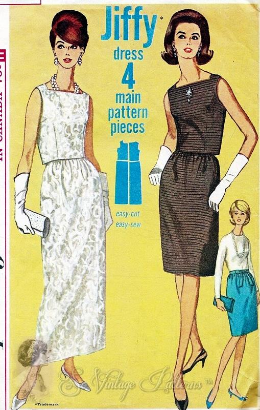 1960s Classy 2 Pc Evening Dress Pattern Square Neckline