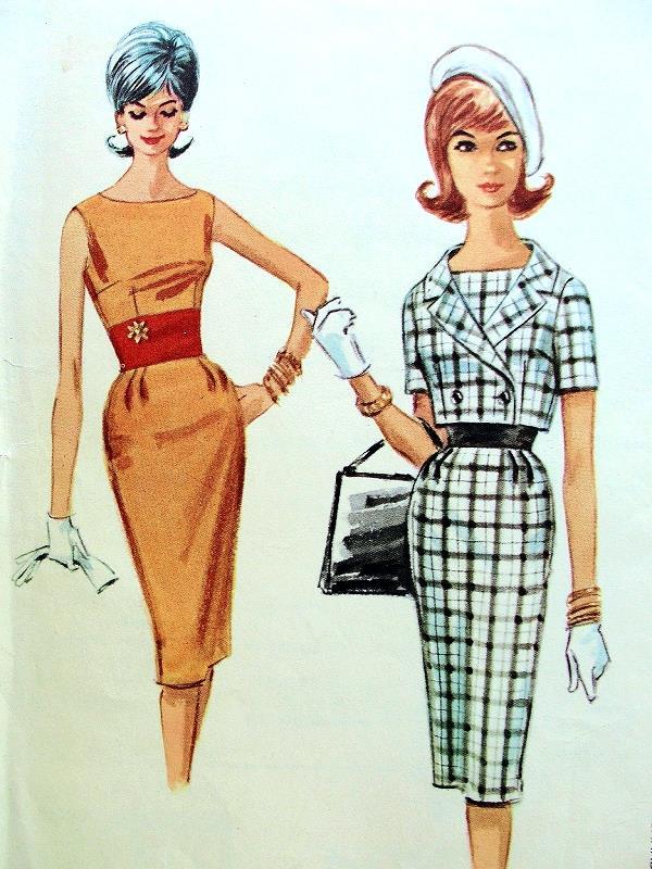 1960s Slim Dress Shortie Jacket Pattern Mad Men 60s