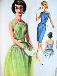 1960s BEAUTIFUL Cocktail Party Dress Pattern McCALLS 6276 Slim or Full Skirt Eye Catching Shirred Bodice Vintage Sewing Pattern