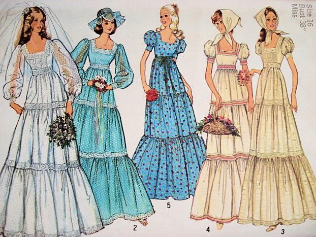 1970s BOHO WEDDING DRESS BRIDAL GOWN PATTERN Plus SCARF 5 Romantic ...