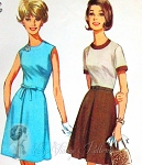 1960s  MAD MEN Dress Pattern Jewel Neckline Front Inverted Pleat Classic Style Simplicity 6279 Vintage Sewing Pattern Bust 31.5 or 32 UNCUT