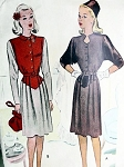 1940S VINTAGE MCCALL DRESS WITH TWO COLLAR STYLES  PATTERN 6282