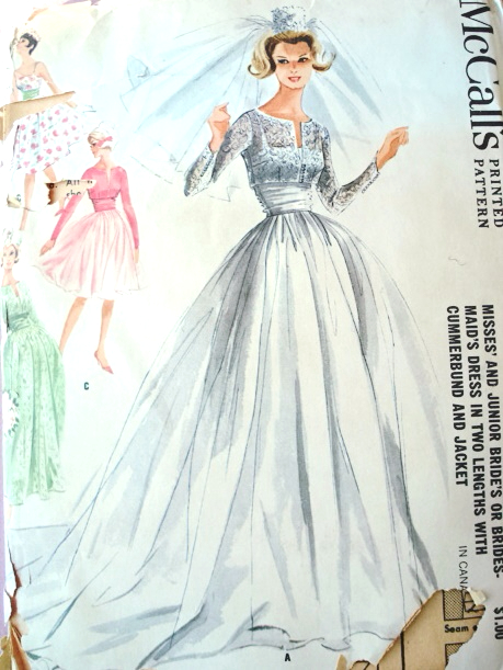 1960s Dreamy Wedding Gown Bridal Bridesmaid Dress Pattern 2 Lengths ...