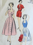 1950s  WEEKEND  BEACH WEAR PATTERN HALTER TOP,  FRONT BUTTON SKIRT, SHORTS, JACKET ADVANCE 6394