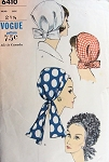 1960s MOD HALSTON Style Draped Hats Pattern VOGUE 6410 Vintage Sewing Pattern FACTORY FOLDED