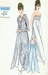 1960s Vogue 6430 Vintage Sewing Pattern GLAMOROUS Portrait Collar Dressing Gown, Peignoir Robe, Negligee Wear it as Evening Coat  Bust 32 Vintage Sewing Pattern