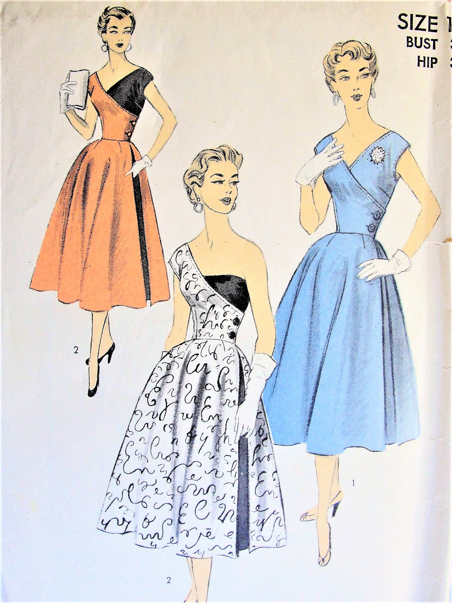 1950s Rare Advance 6446 Vintage Sewing Pattern Dramatic Half and ...