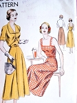 1940s LOVELY Sun Dress Bolero Jacket Pattern VOGUE 6467 Camisole Top,Button Back Flared Skirt Dress Fitted Jacket With Cutaway Front Bust 30 Easy To Make Vintage Sewing Pattern