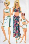 1960s BEACH WEAR PATTERN  2 PC BATHING SUIT, SARONG  WRAP SKIRT SIMPLICITY 6547