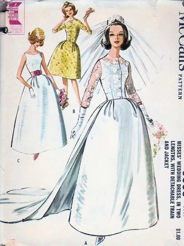 60s Wedding Dress Bridal Gown Pattern Audrey Hepburn Elegant Style ...