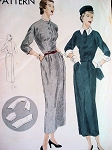 1950s Classy Slim Dress  Pattern Vogue 6620 Includes Detachable Collar and Cuffs  Bust 34 Vintage Sewing Pattern