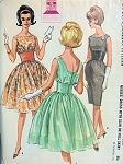 1960s COCKTAIL PARTY DRESS PATTERN LOVELY MIDRIFF STYLE, SLIM or GATHERED SHEER OVERSKIRT, BODICE McCALLS 6670