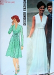 1970s LOVELY Evening Gown or Day Dress Pattern Simplicity Designer Fashion 6672 American Hustle Style Plunging V Neckline Bust 36 Vintage Sewing Pattern