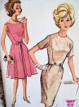 1960s BEAUTIFUL Slim or Full Skirted Dress Pattern McCALLS 6759 Interesting Curved Seams Day or After 5 Dresses Bust 34 Vintage Sewing Pattern