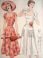 1950s BEAUTIFUL Summer or Party Dress Pattern VOGUE 6761 Flattering Neckline,Flared Skirt Dress Bust 30 Vintage Sewing Pattern