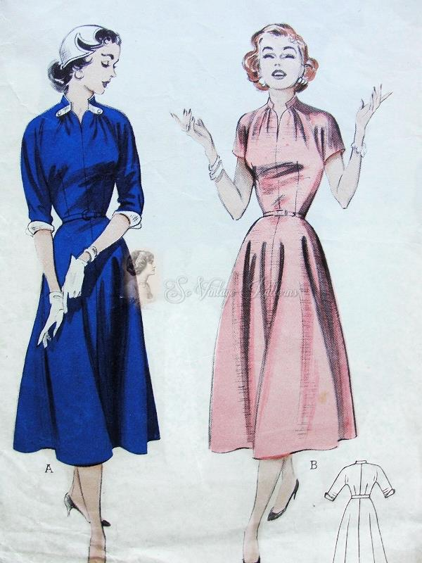 1950s Dress Pattern Soft and Fluid Casual Dress Draped Neckline ...
