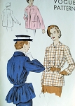 1950s  VOGUE 6815  JACKET COAT PATTERN  WITH or WITHOUT BELT, STRAIGHT FRONT, SLIGHTLY FLARE BACK, CLASSIC STYLE
