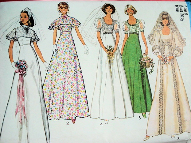 1970s Empire Style Wedding Bridal Dress Pattern Beautiful