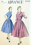 1950s STUNNING Shirt Dress Pattern ADVANCE 6955  Striking Wing Collar  Front Button Dress So I Love Lucy Style Bust 30 Vintage Sewing Pattern