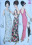 1960s EVENING GOWN SLIM LOW BACK PATTERN  3 VERSIONS, VERY AUDREY STYLE McCALLS 7007