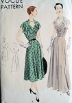 1950  EVENING GOWN PATTERN BEAUTIFUL STYLE VOGUE  7053