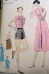 1950s  BEACH WEAR PATTERN BLOUSE, SHORTS, WRAPPED SKIRT