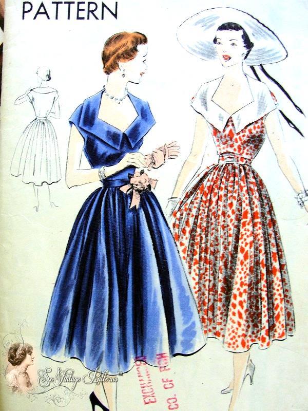 1950s Vogue 7086 Vintage Sewing Pattern Glamorous Cocktail