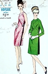 1960s CLASSY Mod Slim Dress Pattern VOGUE 7092 Deep Side Pleat Seam Interest Bust 34 Vintage Sewing Pattern