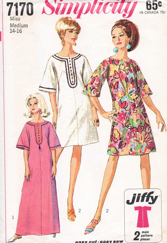 40s MOD Dress Or Caftan Pattern Simplicity 40 Easy To Sew Jiffy Impressive Easy Sewing Patterns