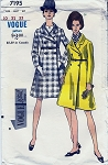 1960s Mod Snappy Coachman Style Coat Pattern Semi Fitted Double Breasted Vogue Special Design 7195 Vintage Sewing Pattern Bust 32