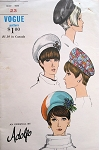 60s Fab Oversized Beret Hats Mod Pattern Vogue 7200 Designer ADOLFO Vintage Sewing Pattern