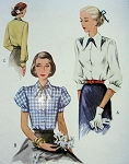 1940s McCALL 7239 BLOUSE PATTERN  2 VERSIONS,PRETTY PUFF SLEEVED STYLE