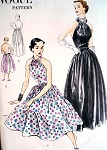 1950s GLAMOROUS Evening Gown Cocktail Party Dress Pattern VOGUE 7245 Beautiful Halter Top Dress Bust 32 Easy To Sew Vintage Sewing Pattern