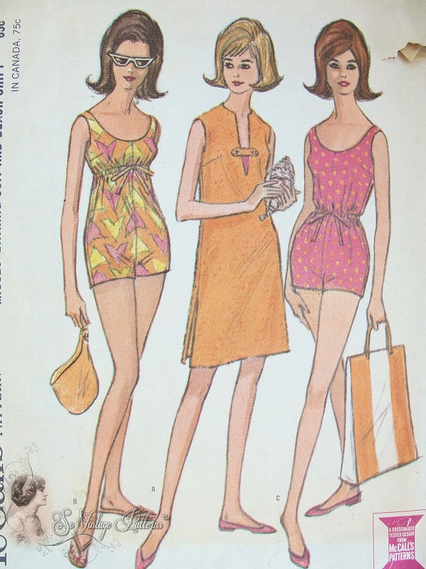 Vintage 60s Bathing Suit Swimsuit Pattern Drawstring Empire or ...