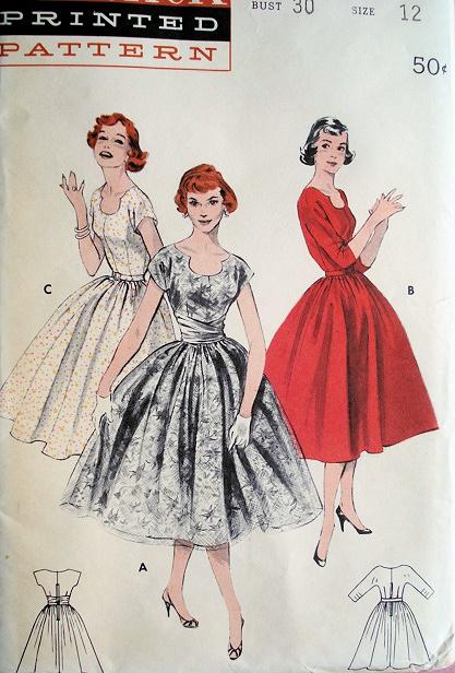 50s Cocktail Dress Deep Cut Clover Neckline Pattern