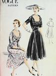 1950s Lovely Cocktail Dinner Dress Pattern Low Softly Draped Neckline, Circular Skirt Gathered Sleeves