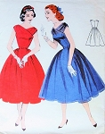 1950s Lovely Cocktail Party Evening Dress Pattern Butterick 7381 Draped Shoulders Surplice Bodice Full Skirt Fit n Flare Bust 34 Vintage Sewing Pattern