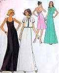1970s HALTER EVENING GOWN, JACKET PATTERN PRETTY CRISS CROSSED BACK SIMPLICITY 7433
