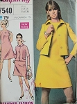 1960s CLASSY Slim Dress and Jacket Pattern SIMPLICITY DESIGNER FASHION 7540 Size 10 Vintage Sewing Pattern UNCUT
