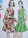 1960s Mod Two Pc Dress Pattern Vogue 7560 Flippy Flared Skirt Peplum Blouson Overblouse V Neckline Vintage Sewing Pattern