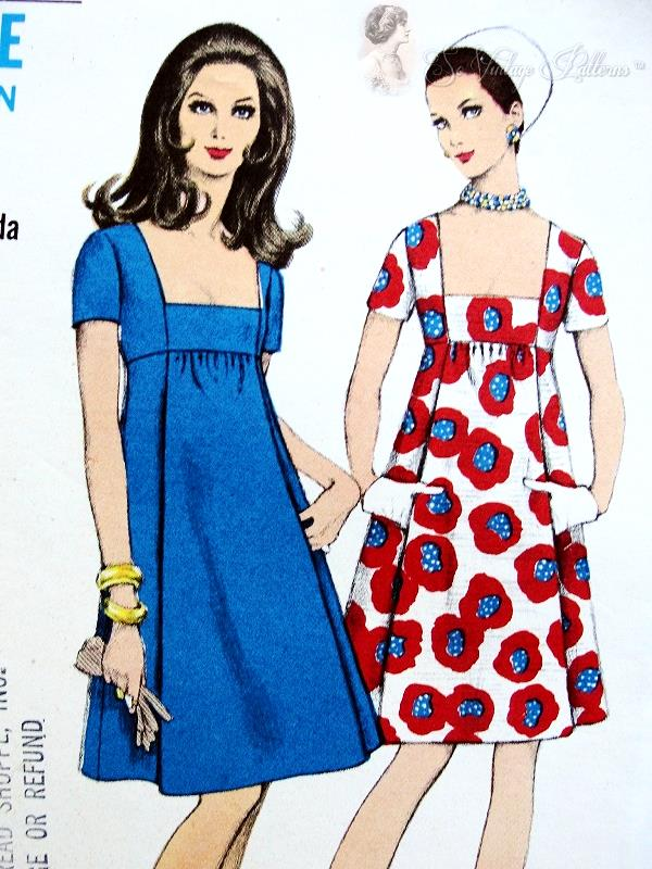 1960s Empire Cocktail Party Dress Pattern Low Square Neckline High