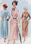 1940s LOVELY Tailored Dress Pattern McCALL 7701 Slim Front, Low Slit Neckline Soft Back Pleats Vintage Sewing Pattern