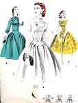 1950s BEAUTIFUL Long Waist Full Skirted Dress Pattern Day or Cocktail Party Dress BUTTERICK 7708 Figure Flattering Fitted Bodice 3 Neckline Styles Bust 30 Vintage Sewing Pattern